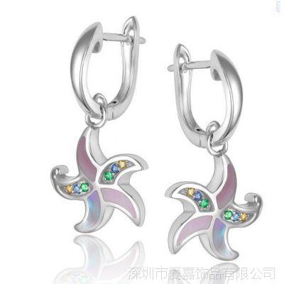 黄铜耳环 耳钉生产 个性耳环—纯银饰品定做厂家