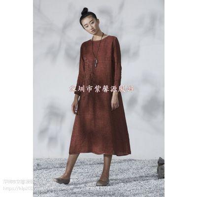 棉麻一线品牌女装批发 深圳必然简约纯色品牌折扣女装货源