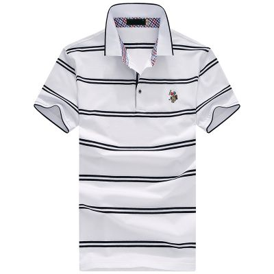 忆惜格罗 2017夏季新品短袖翻领男式日常中年服高档条纹间色企业polo衫t恤