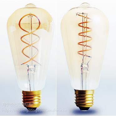 柔性灯丝灯 ST64 玻璃泡壳 绕丝工艺 装饰灯 价低质优 4W 证书齐全 款式独特 样式多变