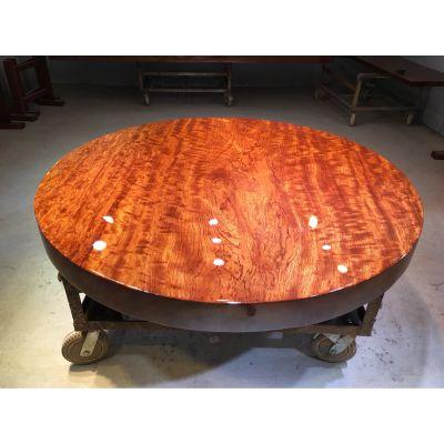 巴花大板桌 实木餐桌圆桌150宽 原木茶桌茶台简约现代现货