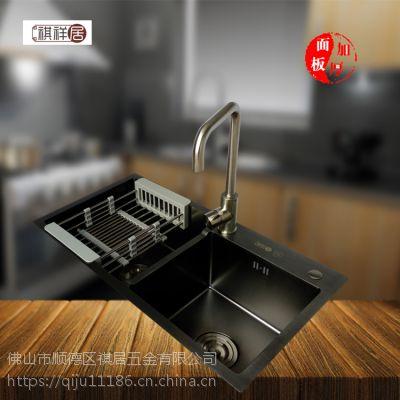 广东顺德祺祥居不锈钢纳米黑金刚手工盆厨房水槽8245
