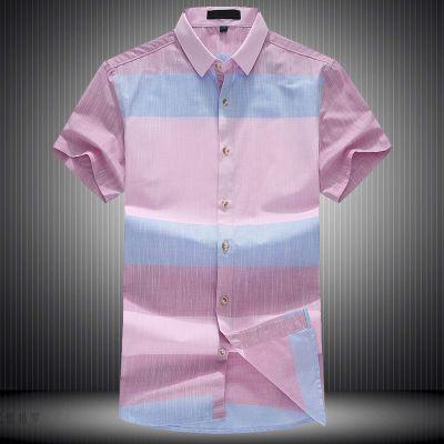 忆惜格罗 2017夏季青年男式薄款短袖衬衫 商务条纹合体型全棉透气衬衣男装