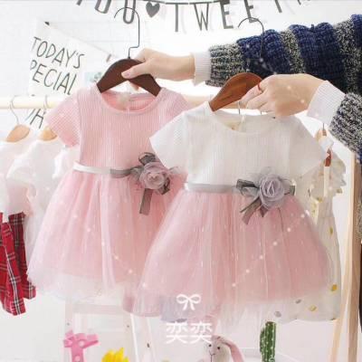 阿里巴巴1688童装批发网2018新款女童公主裙进货洋气韩版好看蕾丝雪纺女孩子连衣裙批发