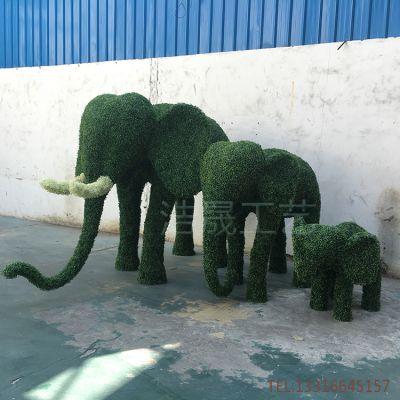 东莞实力厂家 定制仿真大象套装 加厚加密草皮+钢骨架制作仿真绿雕 造型动物雕塑