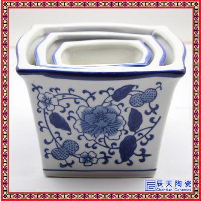 陶瓷花盆带托盘大号圆形三件套创意多肉植物花盆