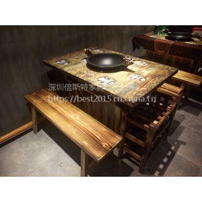 倍斯特复古工业风做旧防火板餐桌主题火锅店中餐厅厂家定制