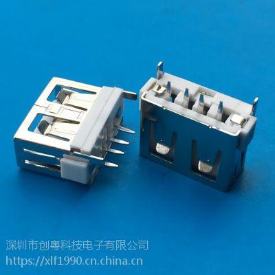 A母 2.0 USB 短体母座10.0MM直边4P白胶180度插板DIP USB 插座