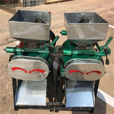 多功能花生破碎机 花生破碎机 宏瑞新款电动对辊式豆扁机