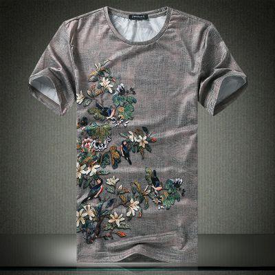 忆惜格罗 2017夏季新款男式花卉t恤青年韩版薄款修身型体恤男士圆领桑蚕丝短袖T恤