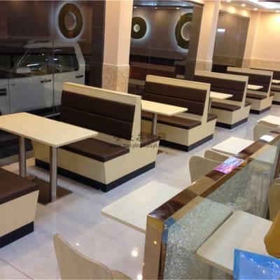 深圳中式面馆家具定做,简约三胺板卡座沙发桌子组合