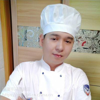 供应东莞塘厦丰采制衣厂家直销新款纯色圆顶纯棉厨师帽餐饮厨房工作帽子