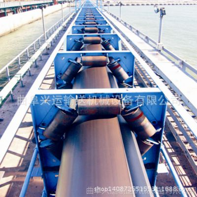 管状带式输送机 水泥沙土用固定式长距离输送机