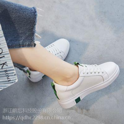 秋季新款韩版真皮小白鞋女系带平底休闲鞋平色鞋