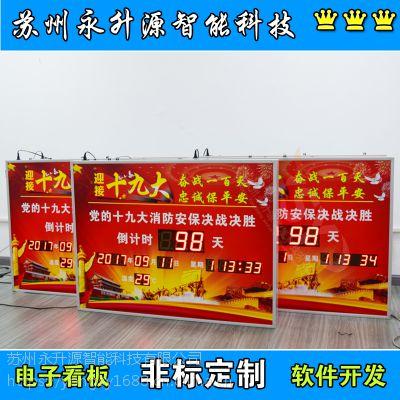 苏州永升源厂家定制***生产运行天数正计时看板开会***温湿度时钟显示屏