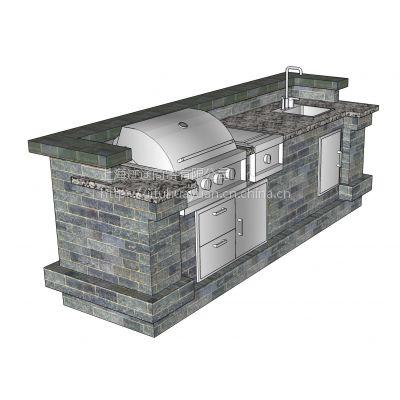 L2804美诺仕四头带上围栏抛光不锈钢户外烧烤台 烧烤台设计效果图片