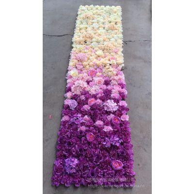 济南仿真花墙生产厂家 仿真花排山东仿真花墙 渐变色玫瑰花坪 绣球花排