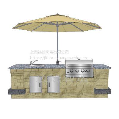 L280 庭院室外烧烤台 抛光不锈钢露天烧烤台套件