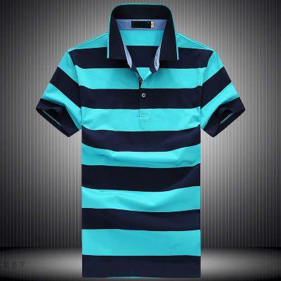 忆惜格罗 2017夏季中年男士短袖t恤男装翻领条纹半袖直筒型上衣polo衫