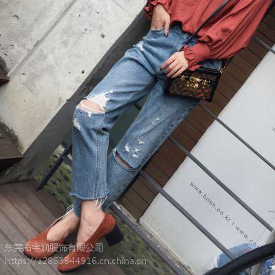 辽宁大连便宜牛仔裤批发时尚杂款女式牛仔裤大码休闲裤尾货服装批发