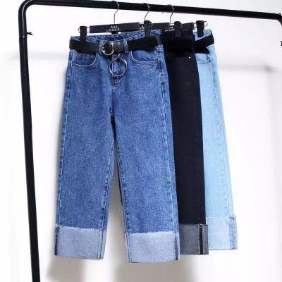 杂款牛仔裤,高腰牛仔裤,九分牛仔