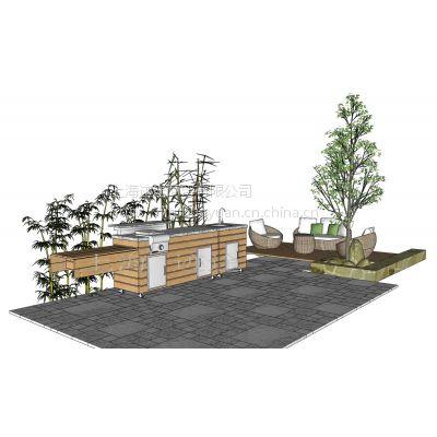 抛光碳化木整体移动式户外中餐厨房餐厅 别墅户外烧烤台 烧烤台设计施工图片