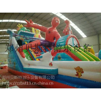 河南新款蜘蛛侠充气滑梯蹦蹦床颜色非常的显眼