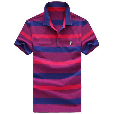 忆惜格罗 2017新款男式夏季短袖t恤 青年男士短袖条纹体恤POLO衫潮T男装