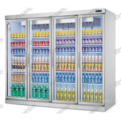 美宜佳款四门平头分体展示柜 雅绅宝立式四门饮料保鲜柜