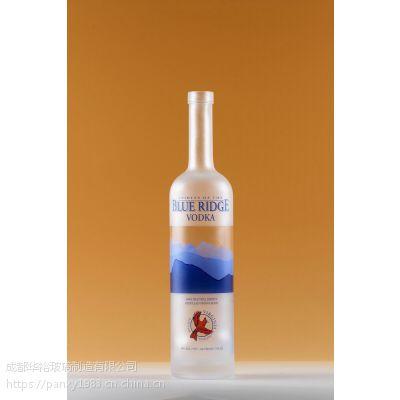 供应定制生产优质高白料玻璃瓶洋酒瓶可喷涂蒙砂烤花印LOGO