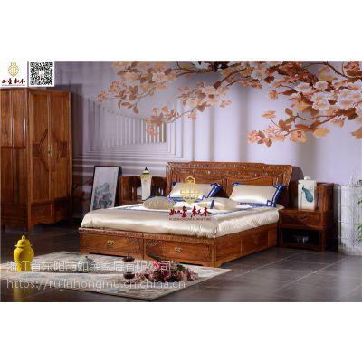如金红木大床销售-古典中式大床供应-花梨木卧室家具