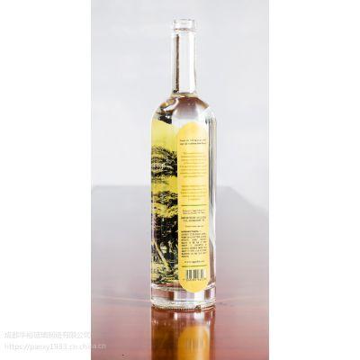 玻璃厂家定制生产晶质料玻璃油瓶可蒙砂喷漆烤标印logo