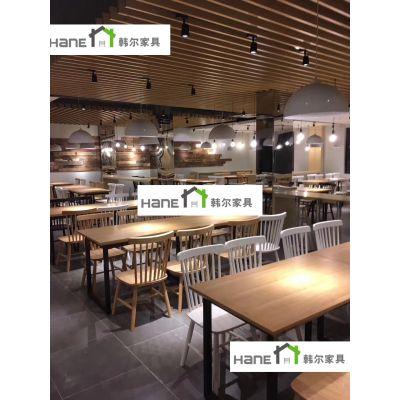 上海简约现代食堂桌椅_厂家直销_可定制有现货 韩尔品牌