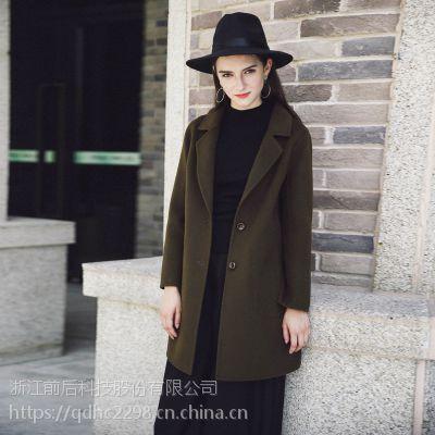 双面呢大衣 2017秋冬新款时尚显瘦高端纯色中长款