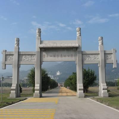 临武县石牌坊厂家|村庄景观石牌楼|石材牌坊样式|