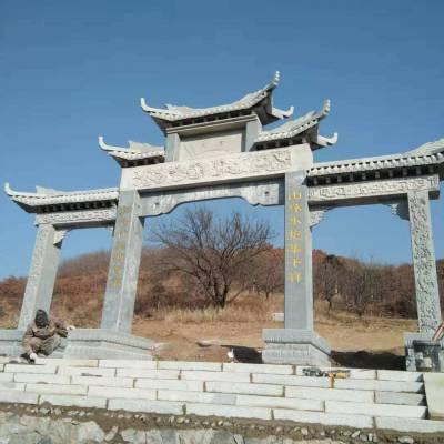 重庆石雕门牌楼金玉雕刻厂订做,石雕牌坊上门安装