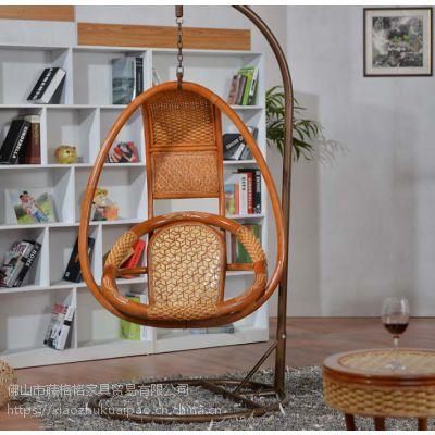 藤格格 9013-15 厂家批发中式鸟巢吊篮椅千秋真藤吊椅室内吊篮