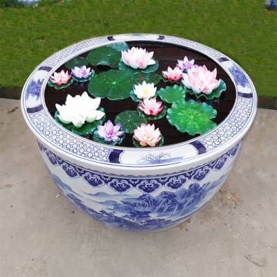 陶瓷养鱼缸批发 庭院养花缸图片 75厘米口径大缸定制厂