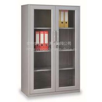 丰锰两层玻璃双开门文件柜 FM-CIC-07BC 中式推拉式2门文件柜
