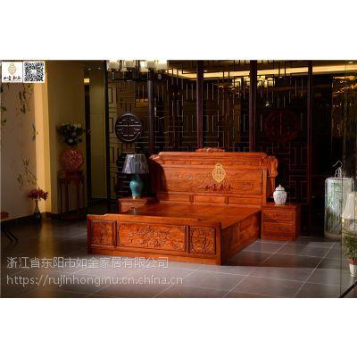 如金红木大床价格-古典中式红木大床