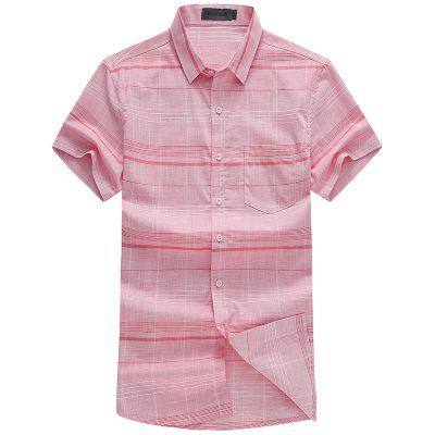 忆惜格罗夏季时尚格子合体型男装商务职业男士衬衣 新款男式翻领纯棉短袖衬衫