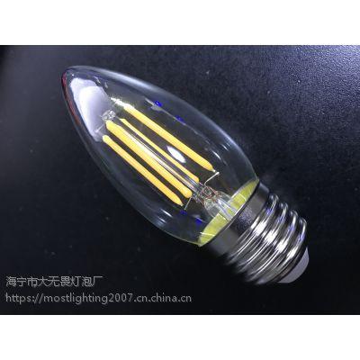 厂家直销LED灯丝泡 C35 4W 蓝宝石灯条 2700K/6000K LED蜡烛灯丝灯