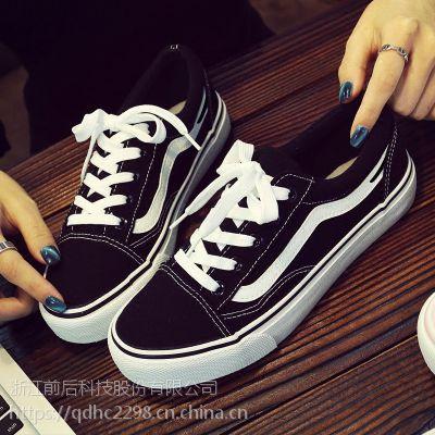 2017夏新款帆布鞋女韩版黑色板鞋女百搭原宿学生休闲平底街拍布鞋