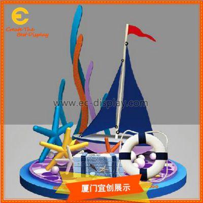厦门宜创 商场美陈 玻璃钢 海洋系船DP 装饰橱窗道具定制
