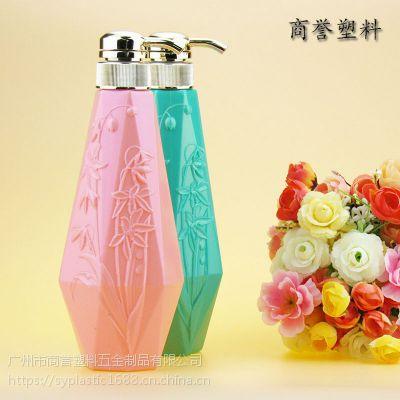 厂家直销 450ml洗发护发沐浴露瓶 pe吹塑制品 广州化妆品包装瓶 商誉