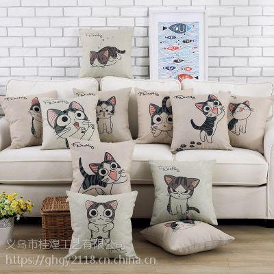 新品棉麻抱枕卡通动物小猫抱枕含芯沙发靠垫护腰靠背靠垫多款可选