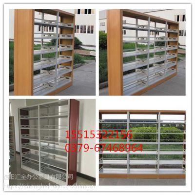 广西南宁图书馆双面书架供应 汇金木护板单面双面书架厂家