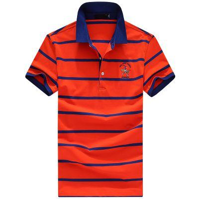 忆惜格罗 2017夏季新款男装条纹男式短袖体恤简约男士T恤中年男士直筒型polo衫