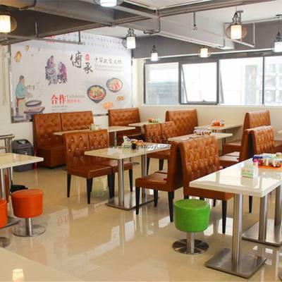 河源时尚软包椅子凳子订做,美食店沙发桌椅案例