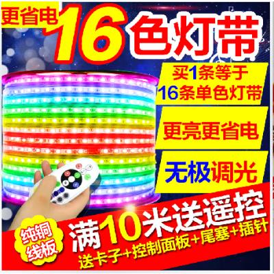 220V通用LED变色灯条 灯带 16色任意变换调色单彩色灯带5050防水